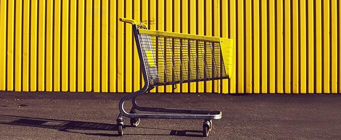 winkel wagen in geel