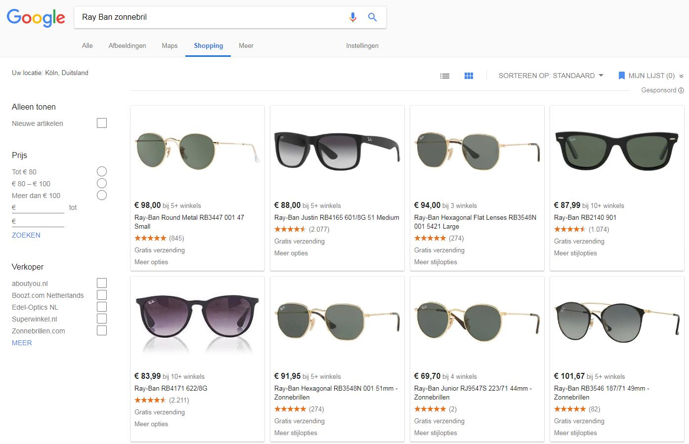 google Shopping Ray Ban