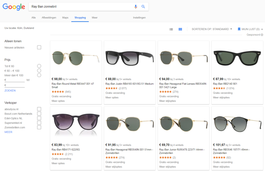 google Shopping Ray Ban