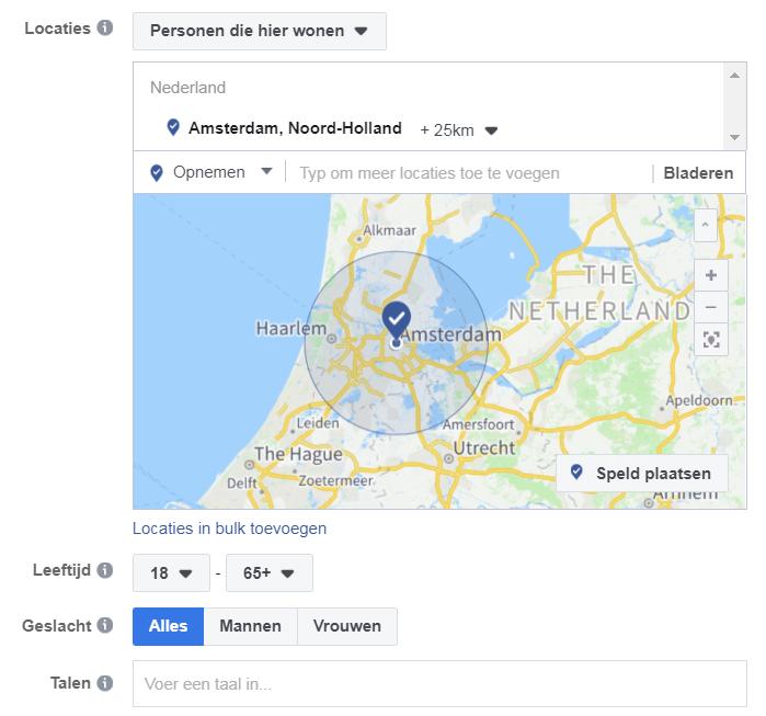 Facebook ads doelgroep Amsterdam
