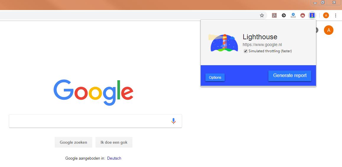 Google Lighthouse Chrome extensie