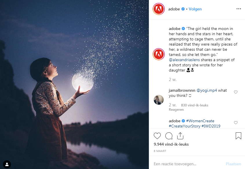 Foto van Instagram account Adobe