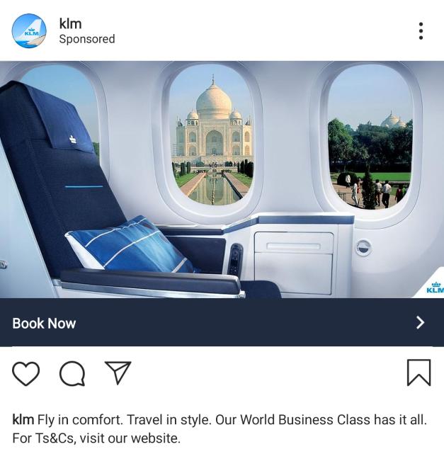 Instagram advertentie KLM