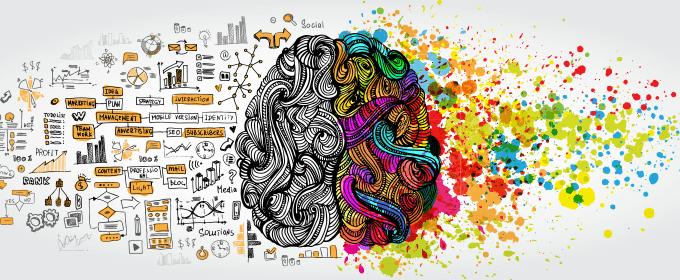 Technisch en creatief deel van het brein