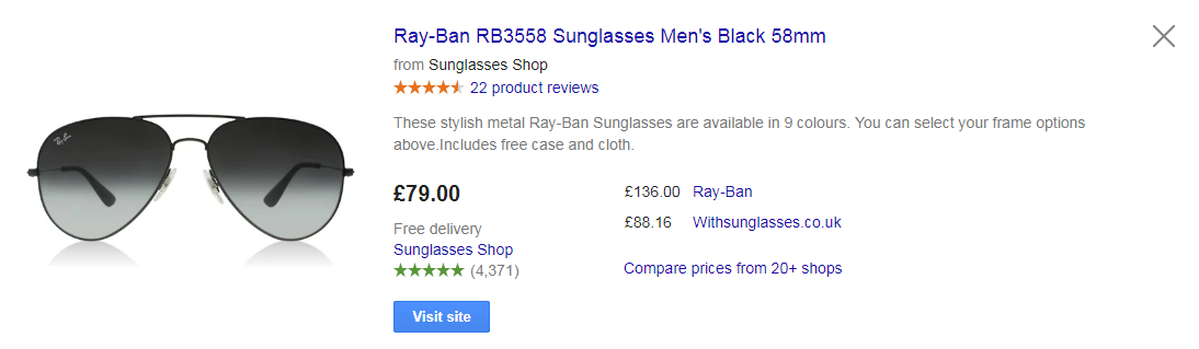 Google Shopping product ad for sunglasses