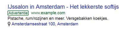 Google Ads voorbeeld Ijssalon Amsterdam